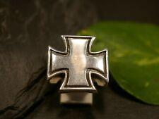 Starker 925 Sterling Silber Ring Eisernes Kreuz Biker Rocker Militär Groß Schwer