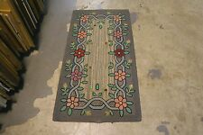 Primitive Antique American Hand Made Hooked Rug Wool on Burlap - 2' x 3'-10