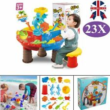 23PCS Kids Sand Water Beach Play Toys Set Round Dolphin Table Stool Outdoor Gift