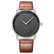 Baogela Men's Watches Quartz Movement Brown Leather Strap Simple Style Watch