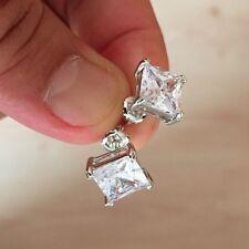 Mens Ladies 3.25 CTW SI1 Lab Diamond Screw Back Square Stud Earring 10mm