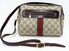 Authentic Gucci Vintage Web Signature Crossbody Brown Bag