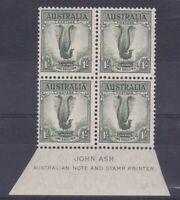 M30) Australia 1937 1/- Lyrebird, perf 13.5 x 14 in imprint block of 4