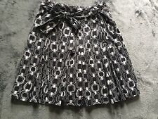 Becky & Max Pleated Skirt Sz 6 Black And White Abstract 2 Layers A-Line Pockets
