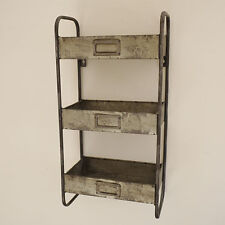 Galvanised Metal Retro Wall Rack Vintage Style Storage Floating Display Unit New
