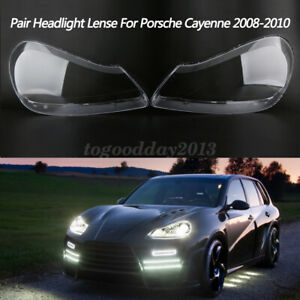 Pair Headlight Lens Cover Transparents Shell For Porsche Cayenne 2008 2009 2010