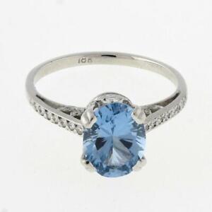 Estate Solitaire Aquamarine Diamond Accent Ring 18K White Gold 2.25 TW Gems 6.5