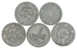 Lot of 5 Guatemala 10 Centavos 1960 1945 1955 1955 1959 Silver Coin Lot *516