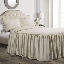 Lush Decor Ruffle Skirt 3-Piece King Ruffle Skirt Bedspread Set Neutral