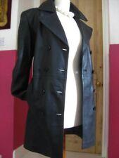 Ladies M&S black leather JACKET COAT size UK 12 10 goth double breasted military