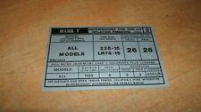 1979 LINCOLN MARK V TIRE PRESSURE INSTR DECAL STICKER L
