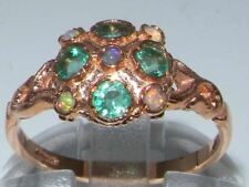 Luxury 9ct Rose Gold Ladies Fiery Opal & Emerald Vintage Style Cluster Ring
