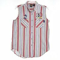 DISNEY Vintage Mickey Unlimited Sleeveless Blouse Sz L Striped Minnie Mickey Emb