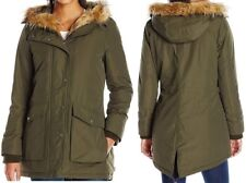 Levi's Womens Full Length Filled Coat Parka Faux Fur Trim Army Green XL