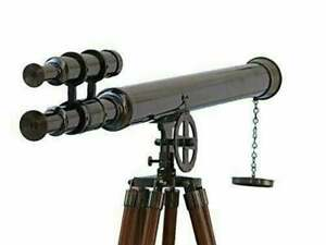 "Marine nautical navy brass double barrel telescope 39"" with wooden tripod stand"