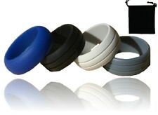 Mens Silicone Wedding Ring Band Size 9 Hypoallergenic Set of 4 With Pouch