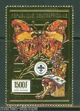 CENTRAL AFRICA  1985  BOY  SCOUT  &  & BUTTERFLY GOLD FOIL STAMP MINT NH