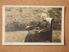 R&L Postcard: Vintage Photo of Edwardian Lady in Antique Chair , Dress/Clothes