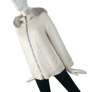 Loro Piana Ladies Reversible FOX FUR Hood Cashmere Jacket Short Coat Size S IT40