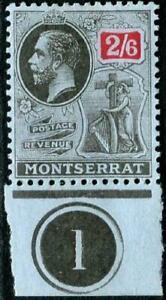 Montserrat 1916-22 KGV  2/6d Black & Red/Blue   SG.58 Mint (Hinged)   Cat:£40