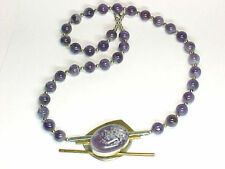 NECKLACE PENDANT Heavy Bead Lace Amethyst Purple Vintage 1950s Sterling Silver