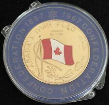 CANADA 1867 1967 Centennial Medal - Token - Enameled Red Flag Canada's Own Gold