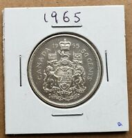 Canada 1965 - 50 Cents Fifty Cents 80% Silver Coin - Canadian - Free Shipping!