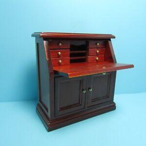 Dollhouse Miniature Writing Desk / Secretary in Mahogany ~ T3350