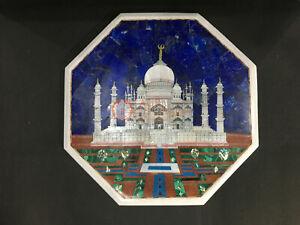 "18""x18"" Marble Top Side Table Traditional Taj Mahal Design Living Room Decor Art"