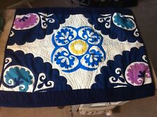 Standard Quilted Sham Floral Blues, Cream, Green & Purple - One Only
