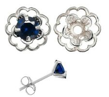 Earring Set Saphire Blue Cubic Posts and Silver Flower Earring Jacket