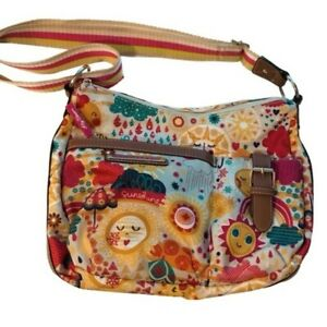Lily Bloom You Are My Sunshine Rainbow Crossbody Hobo Double Zip Bag Leather Tri