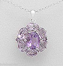 Solid Sterling Silver 28mm BOLD Purple Amethyst Flower Pendant 4.2g FABULOUS