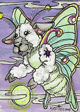 Luna moth Lamb sheep moon night ACEO EBSQ Kim Loberg Mini Art Fantasy Insect bug