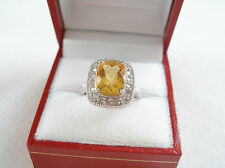 3.3 Ct. Citrine Solitaire & Diamond 10K White Gold Ring