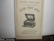 REGINA MUSIC BOX OPERATING & REPAIR MANUAL BOOKLET & FREE LIST OF TUNES BOOKLET
