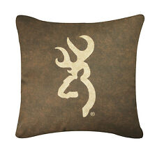 BROWNING BUCKMARK BROWN DECORATIVE BEDDING LOGO PILLOW