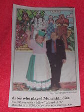 KARL SLOVER WIZARD OF OZ MUNCHKIN COLOR NEWSPAPER PHOTO