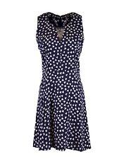 En Creme Dapper Chic Floral Print Fit & Flare Crochet Back Detail Navy Dress M
