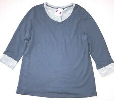 FRESH PRODUCE 1X Deep Dive BLUE Sunset FRENCH Terry 3/4 Sweatshirt Top NWT New