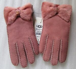 UGG Gloves Shearling Slim Water Resistant Bow Shorty Colors Sizes New $155