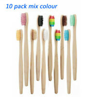 10pcs/lot Natural Bamboo Handle Rainbow Toothbrush Eco-friendly Tooth Brushes