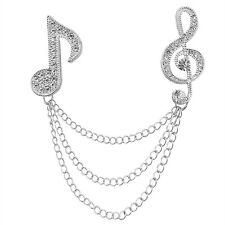 Women Men Music Note Diamond Brooch Pearls Corsage Small Fresh Beat Notes Pin T Silver