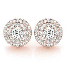 0.80CT ROUND DIAMOND HALO SEMI MOUNT EARRINGS