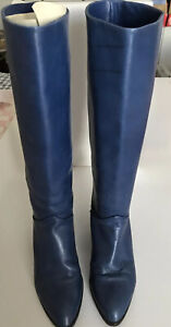 Vintage Vero Cuoio Italy Women's Blue Leather Knee High Designer Boots Sz 38 1/2