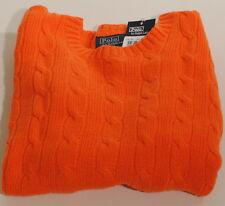 Polo Ralph Lauren Pumpkin Orange Cashmere Cableknit Sweater Sz XL 18-20 $250 F2D
