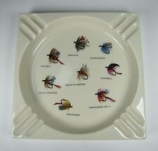 Orig Mid Century Porcelain FLY FISHING Decorative Art Hyalyn USA Cigar Ashtray