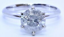 14K Solid White Gold 1.50ct Round Diamond Solitaire Engagement Ring Size 5