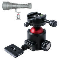 """360 Degree Rotatable Camera Tripod Ball Head with 1/4"""" Screw Quick Release Plate"""