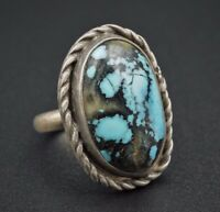 Vintage Southwestern Sterling Silver Natural Blue Turquoise Ring Size 6 RS1620